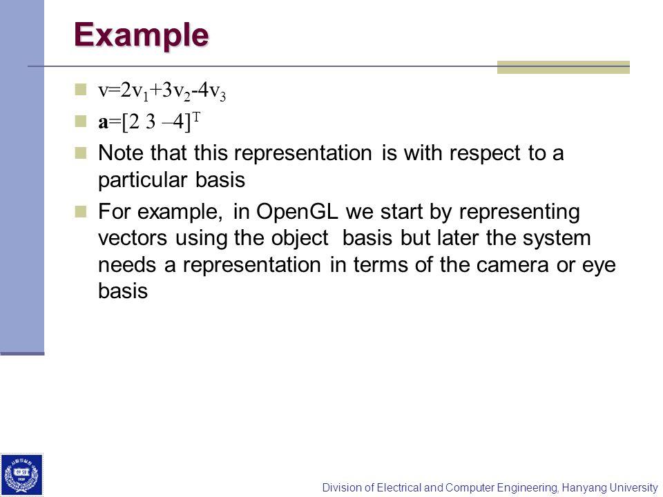 Example v=2v1+3v2-4v3 a=[2 3 –4]T